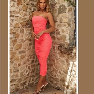 Oh Polly Keep It Simple Ruched Dress Neon Coral